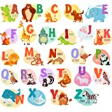 Alphabet Animals ABC Wall Decals Peel and Stick Easily Removable for Daycare School Kids Room Decoration Decals For Baby Boys Girls - Top Quality - Nursery Educational Wall Art (Large Alphabet)