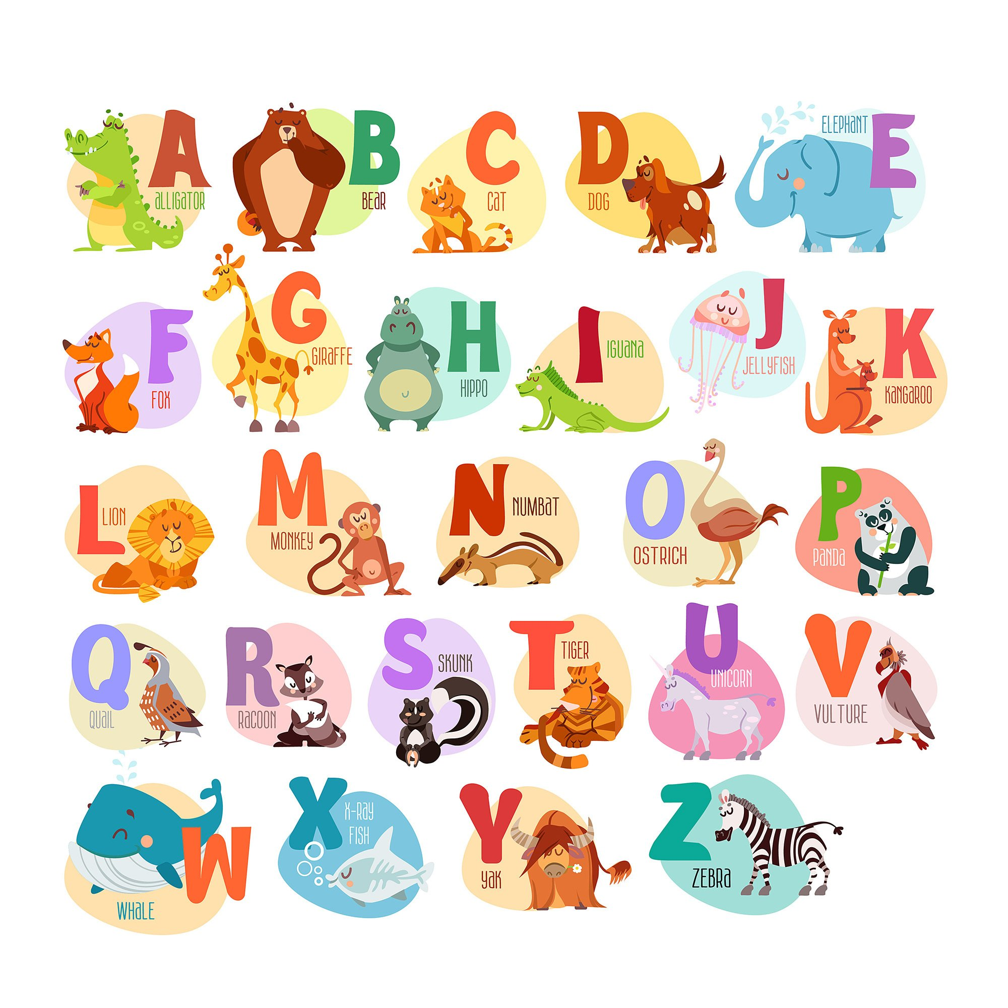 7ProductGroup Alphabet Animals ABC Wall Decals Peel and Stick Easily Removable for Daycare School Kids Room Decoration Decals For Baby Boys Girls Nursery Educational Wall Art (Large Alphabet)