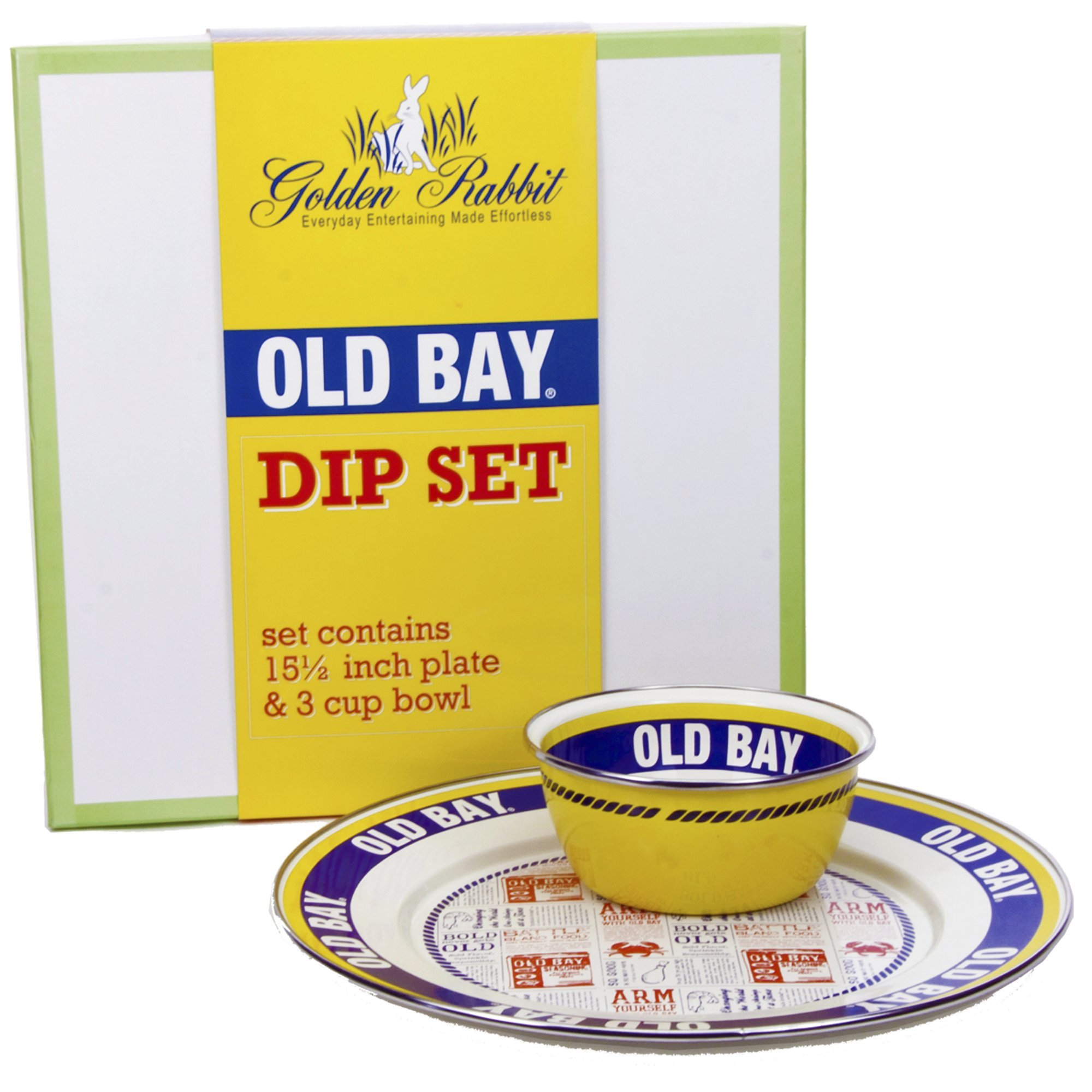Enamelware - Old Bay Pattern - 2-Piece Giftboxed Set with 12 Inch Plate and 3 Cup Bowl