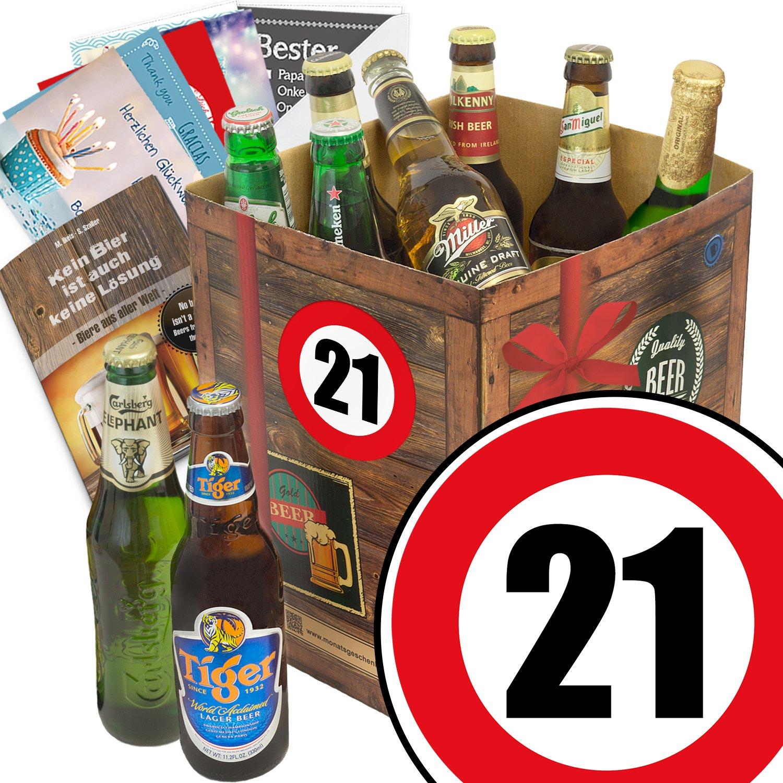 Geburtstagsgeschenke für Männer zum 21. - Bier Geschenk Box mit Bieren der Welt + gratis Bierbuch + Geschenk Karten + Bier - Bewertungsbogen Bierset + Bier Geschenk + Personalisierte Geschenk-Box - 21 + Bier Geschenke Geschenkideen + Besser als Bier selber