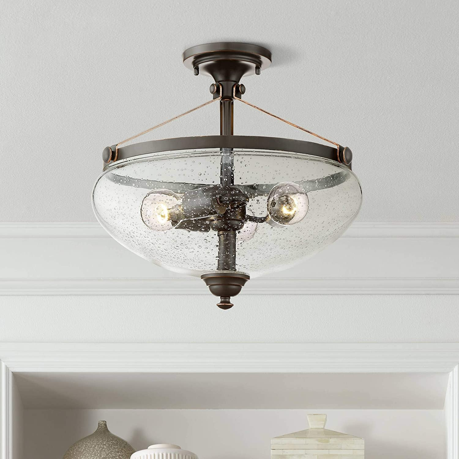 Hartfield 15 1 4 wide oil rubbed bronze ceiling light