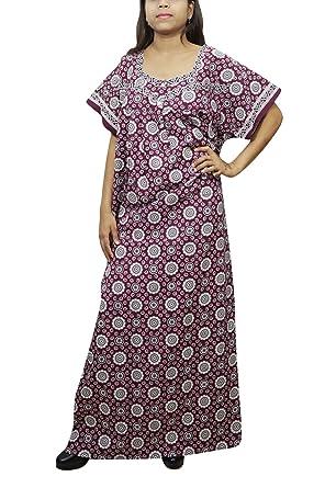 Indiatrendzs Women Maxi Nighty Floral Printed House Wear Nightgown (Dark  Purple) fc7907f4d