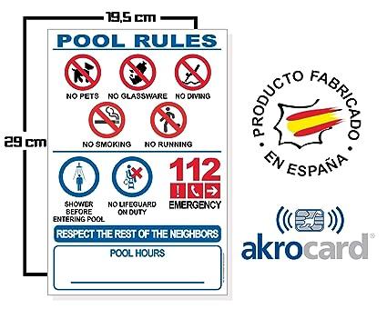 akrocard Cartel para Piscina PVC (Idioma: Ingles)