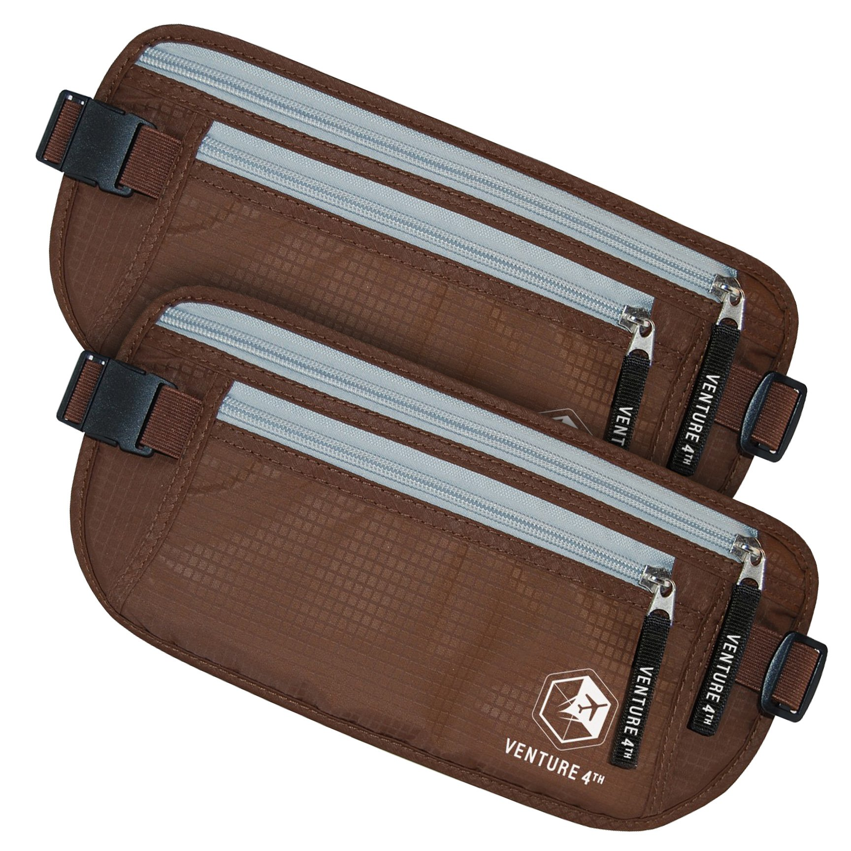 Travel Money Belt - Keeps Your Cash Safe When Traveling - Hidden Waist Passport Holder With RFID Blocking Is Designed For Superior Anti-Theft Protection and Comfort Twin Pack (Brown + Brown)