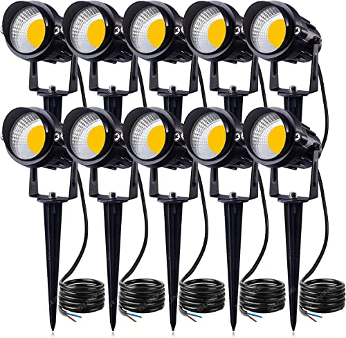 SUNVIE 12W LED Landscape Lights Low Voltage Garden Pathway Lights Super Warm White 12V Waterproof Outdoor Spotlights for Driveway Walkway Yard Patio Porch Trees with Spike Stand 10 Pack