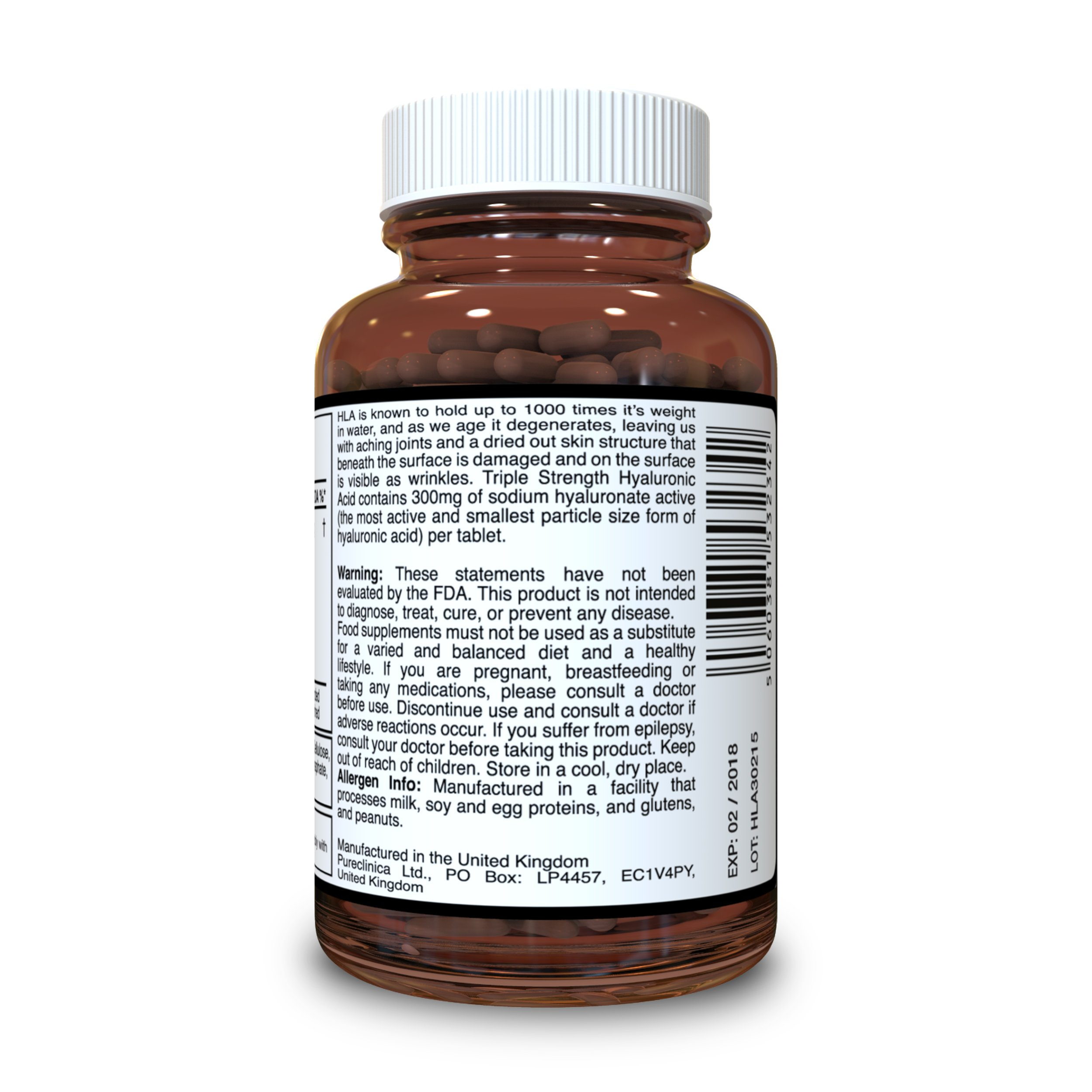 Hyaluronic Acid 300mg x 360 tablets (2 bottles each with 180 tablets - 6 months supply). Triple Strength Hyaluronic Acid. 300% stronger than any other HLA tablet. SKU: HLA3x2 by Pureclinica (Image #2)