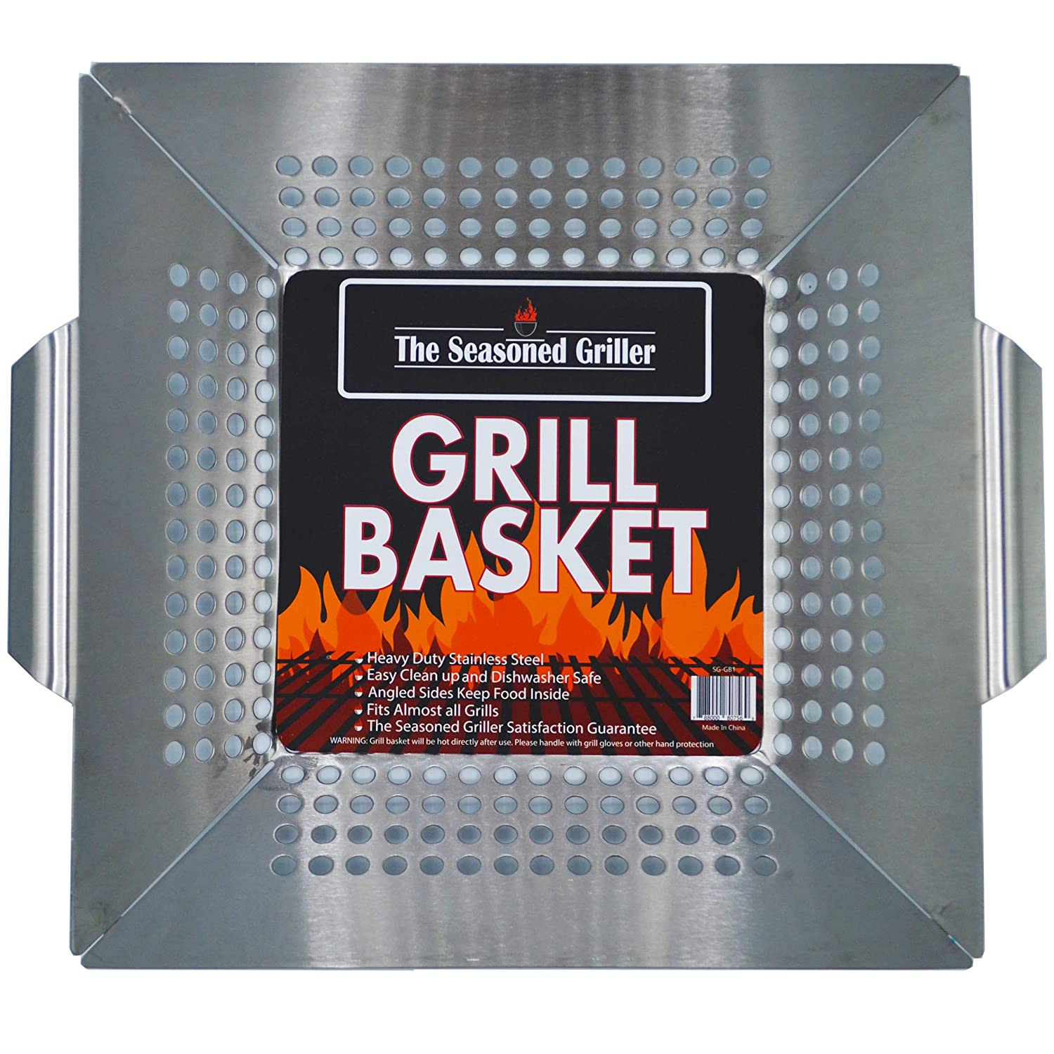 Professional Grade Stainless Steel Grill Basket, BBQ Accessories, Grill Your Meats, Vegetables, Seafood, Pizza, Kabobs. Fits Charcoal, Gas Grills Camping Cookware Grill Tool For Dad
