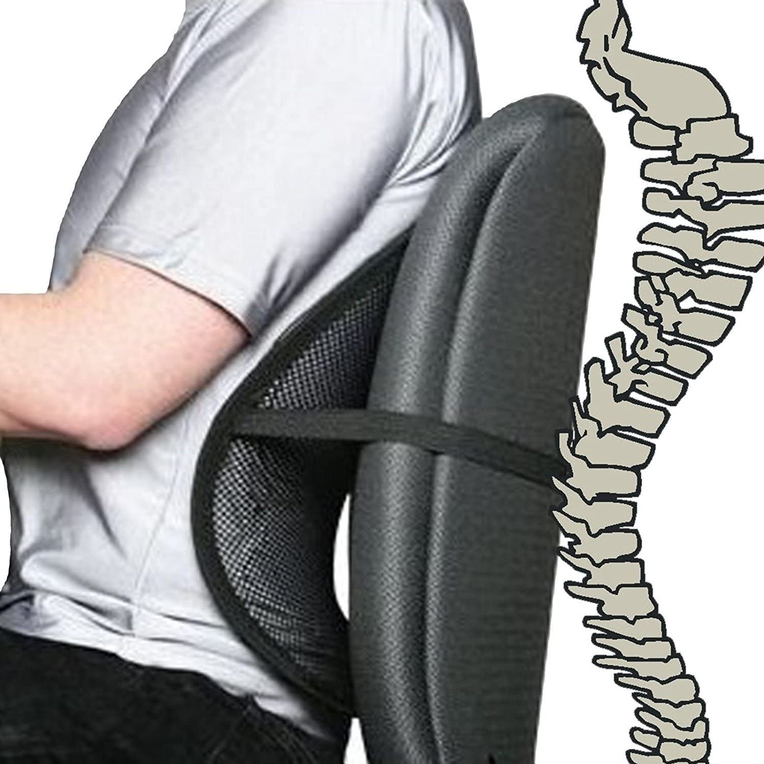 Cool Vent Mesh Back Lumbar Support For Office Chair, Car, and Other