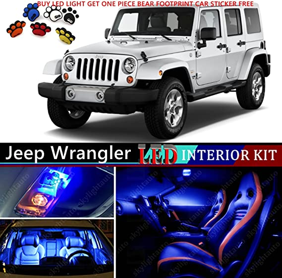 8 x Premium Blue LED Lights Interior Package for Jeep Wrangler 2007-2019 Tool