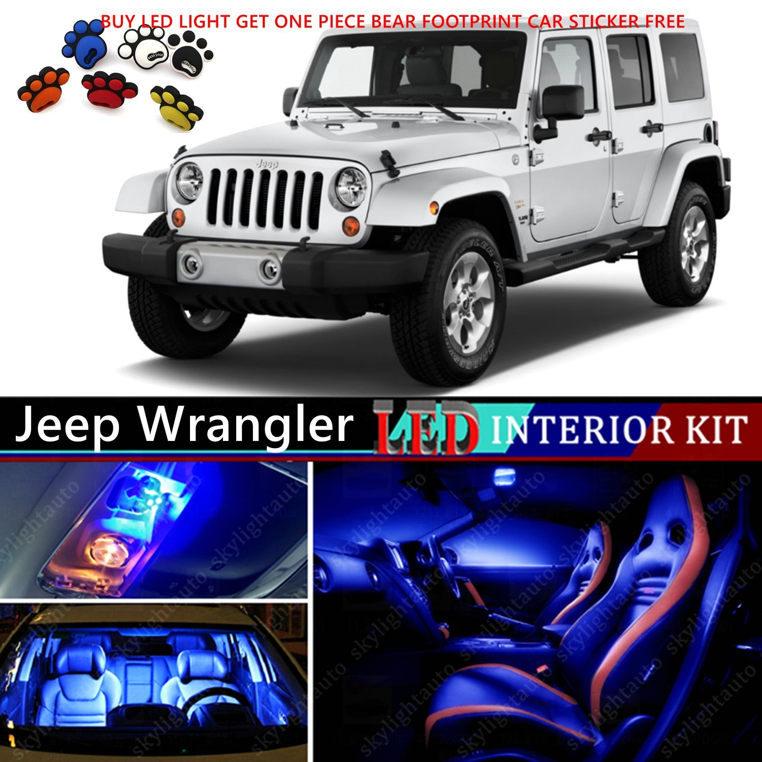 10pcs Led Premium Blue Light Interior Package Deal For Jeep Wrangler Kits 2007 2015 Automotive