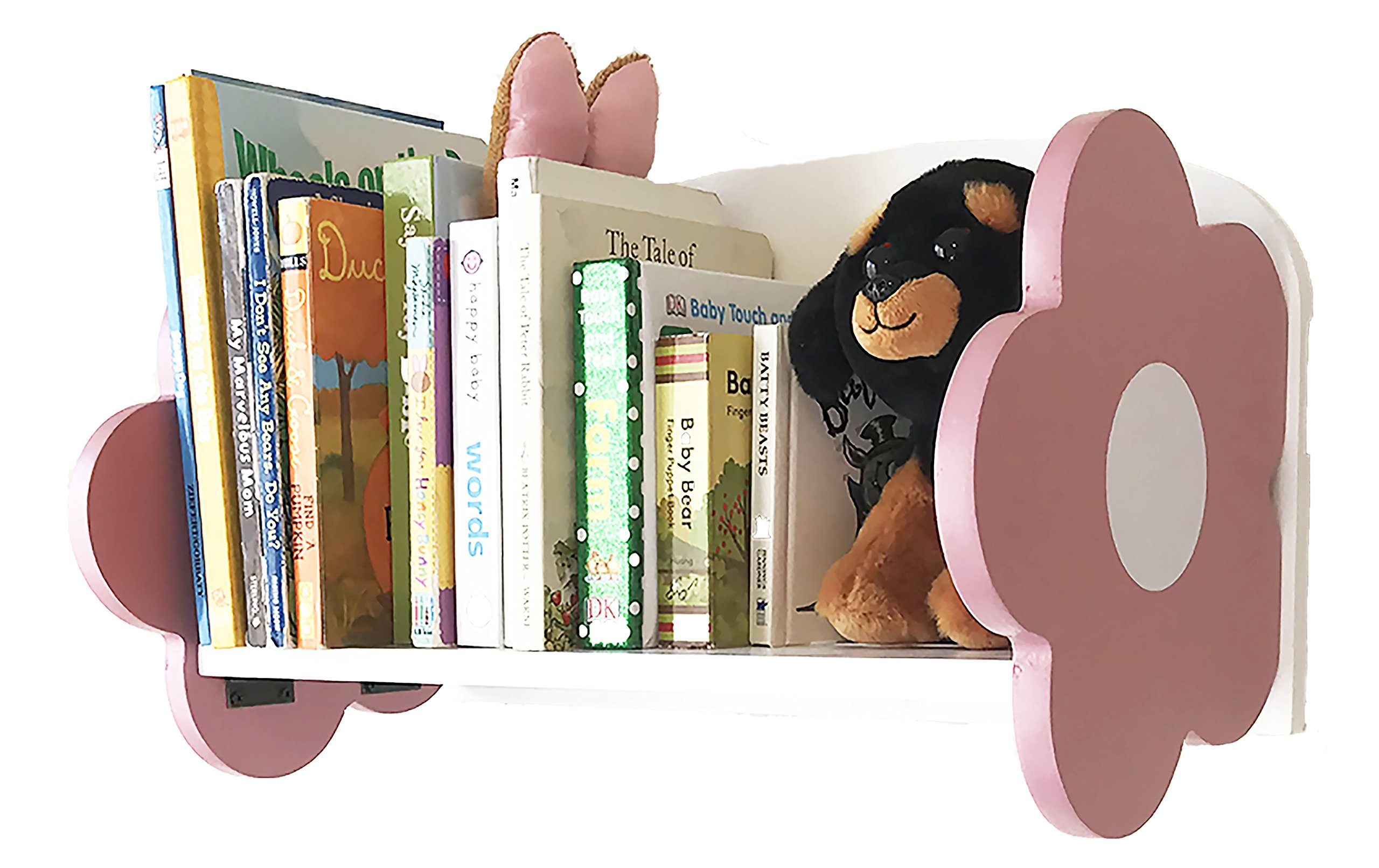 bbSmarts Floating Wall Shelf/Bookshelf for Baby Room/Nursery or Kid's Room - Unique Decor - Pink and White Flower Design