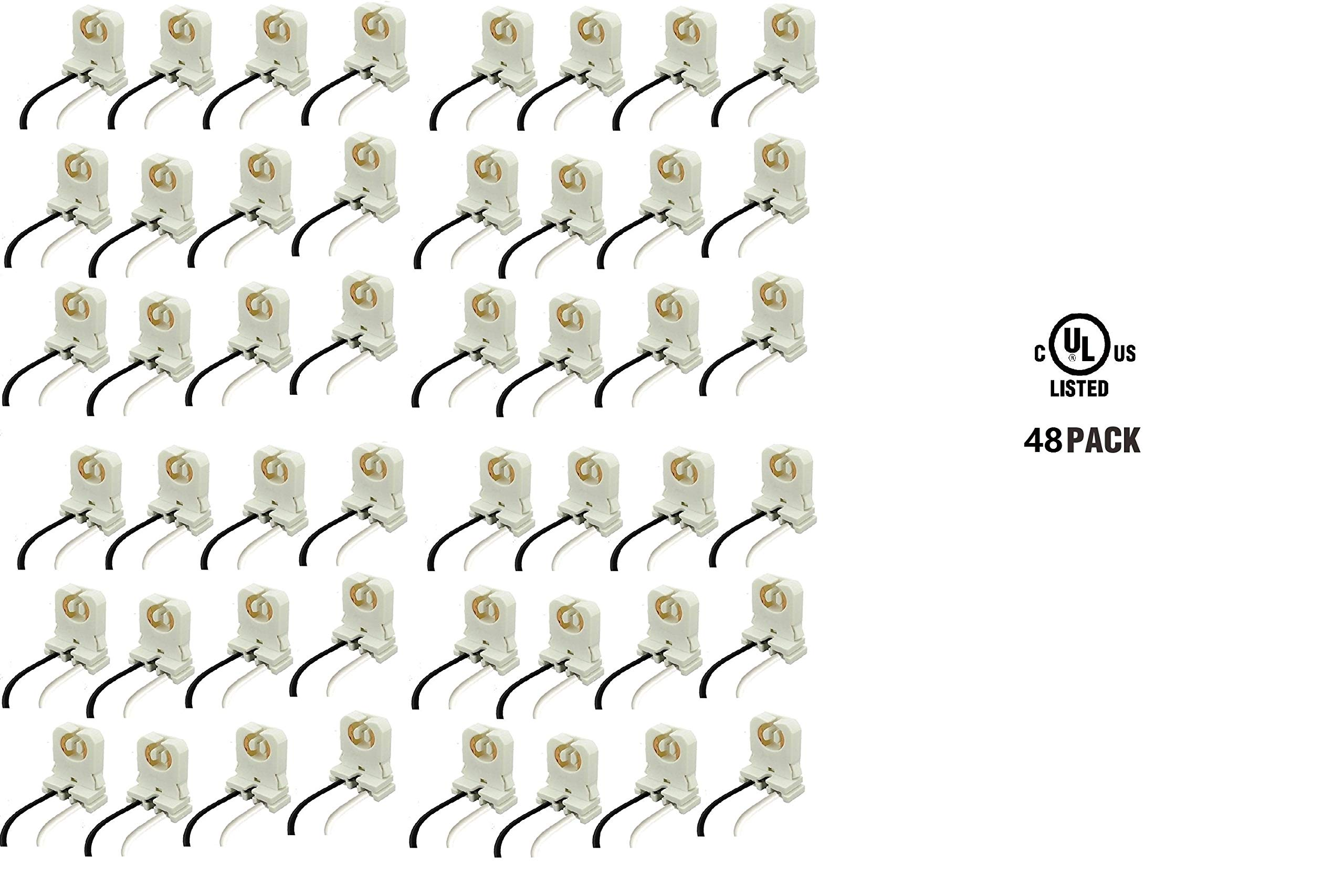 UL Listed Non-shunted T8 Lamp Holder, Lights Talk Socket Tombstone for LED Fluorescent Tube Replacements Turn-type Lampholder, Medium Bi-pin Socket for Programmed Start Ballasts (48-Pack With Wire)