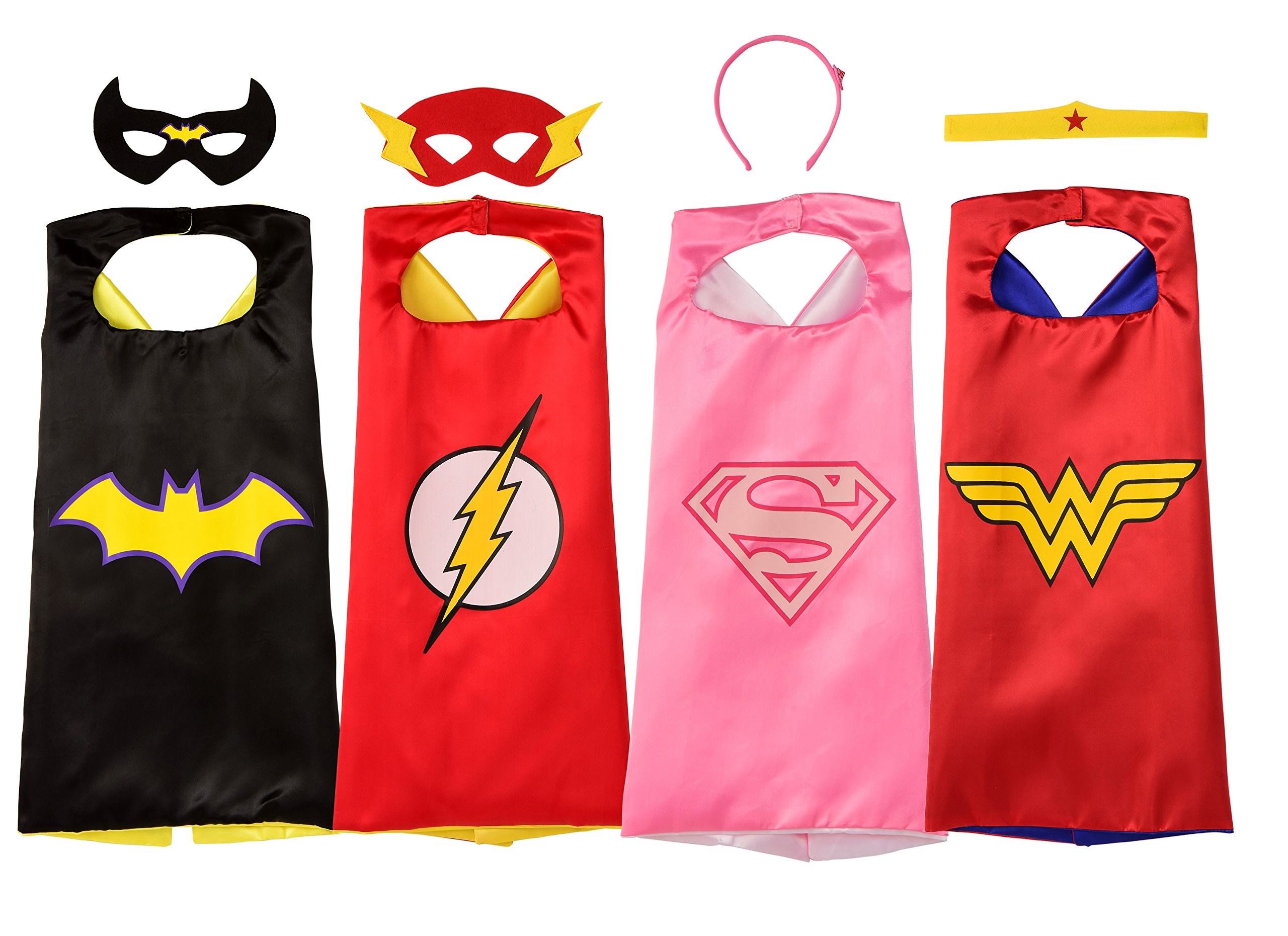 Rubie's Super Hero Cape Set Officially licensed DC Comics Assortment  4 Capes, 2 Masks, and 2 Headbands, One Size (Amazon Exclusive) by Rubie's (Image #1)
