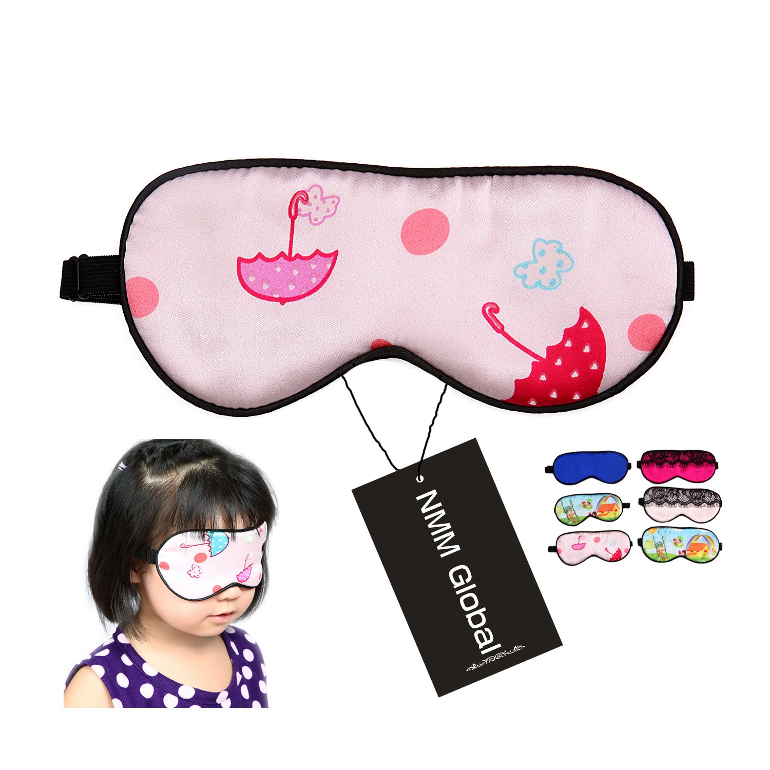 NMM Global 100% Mulberry Silk Sleep Mask, Natural Sleeping Mask for Girl Kids, Super Soft Eye Mask for Sleeping with Free Ear Plugs (PINK CHILD)