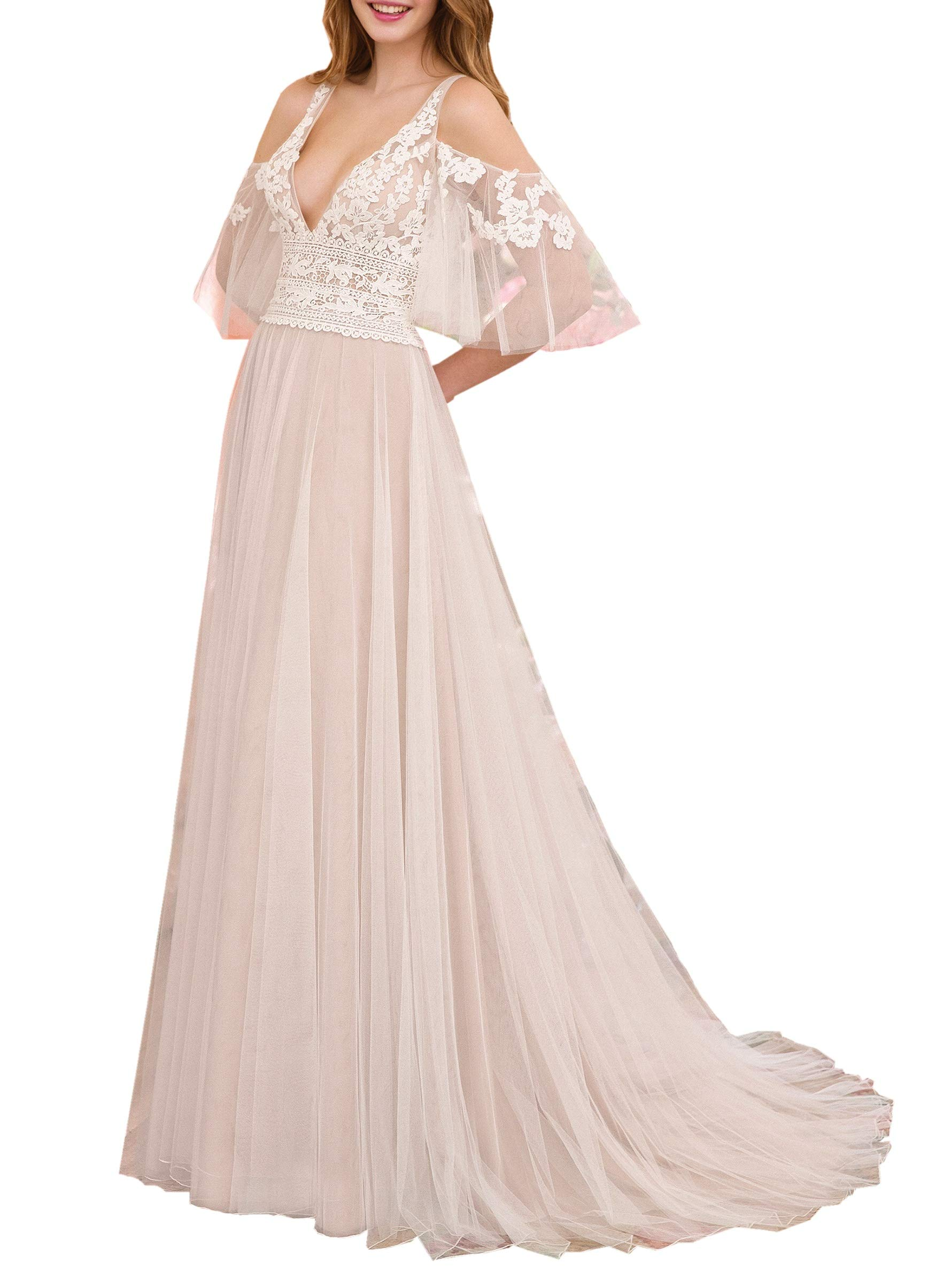 Mauwey Women S V Neck Lace Applique Beach Wedding Dress Bell Sleeve Tulle Bohemian Bridal Gown A Line