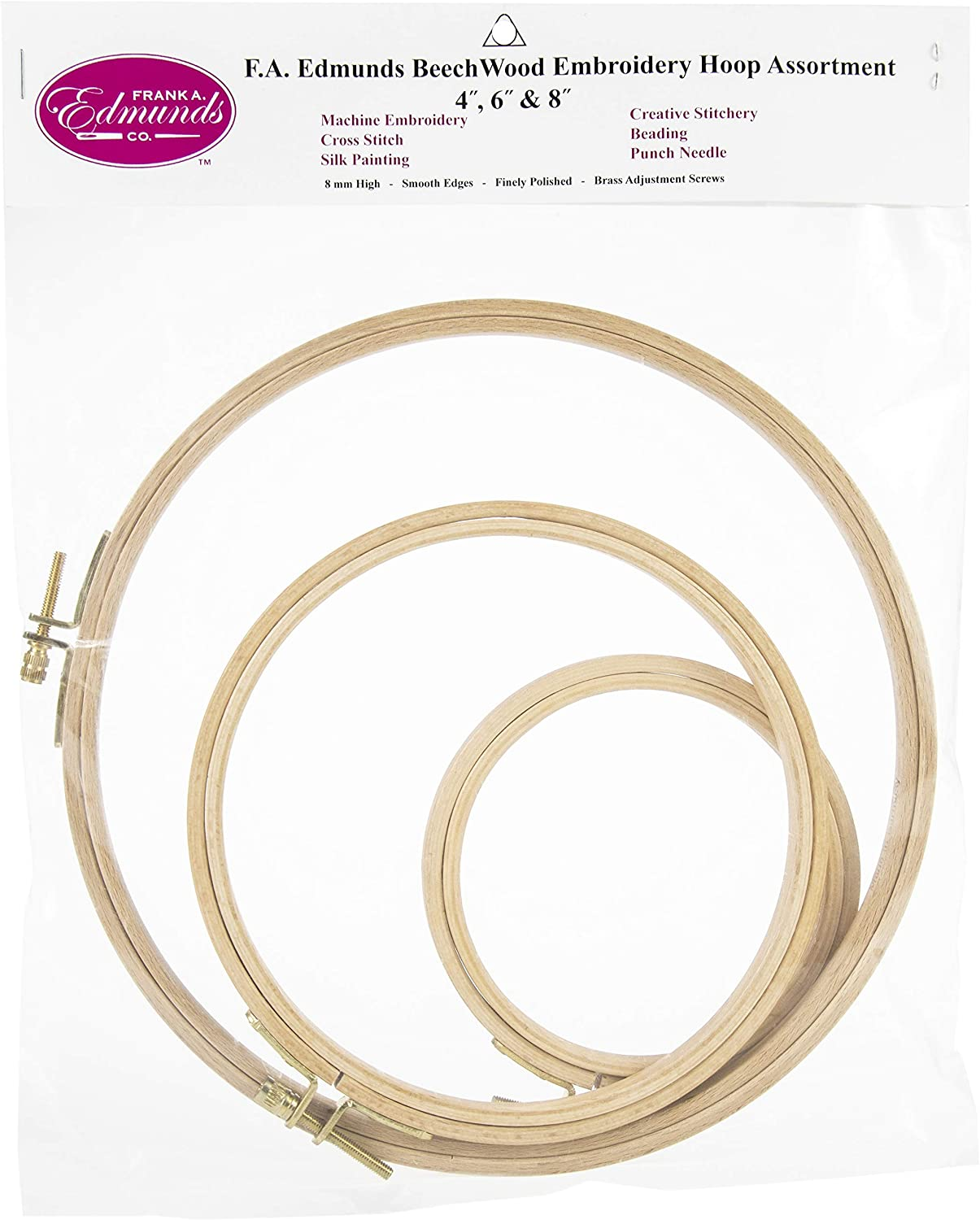 3-Inch Frank Edmunds Polished Beech Wood Embroidery Hoop