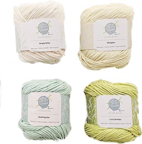 Paquete de 4 ovillos de hilo 100% algodón, suave, suave y mediano ...