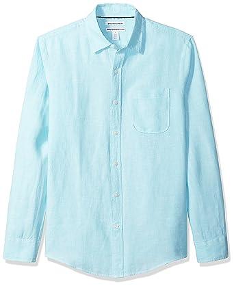 8d68820b Amazon.com: Amazon Essentials Men's Slim-Fit Long-Sleeve Linen Shirt ...