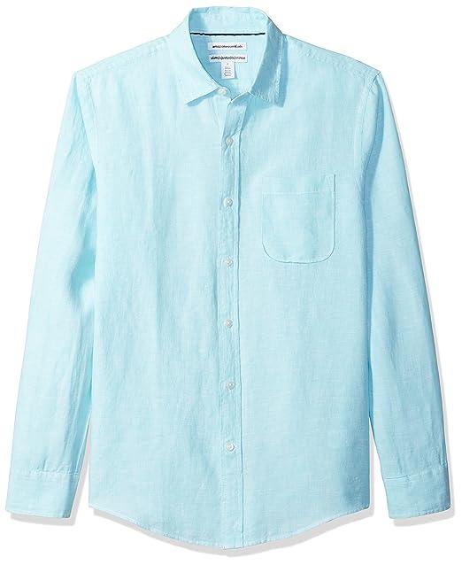 a5b124c91d Amazon Essentials Men's Slim-Fit Long-Sleeve Linen Shirt