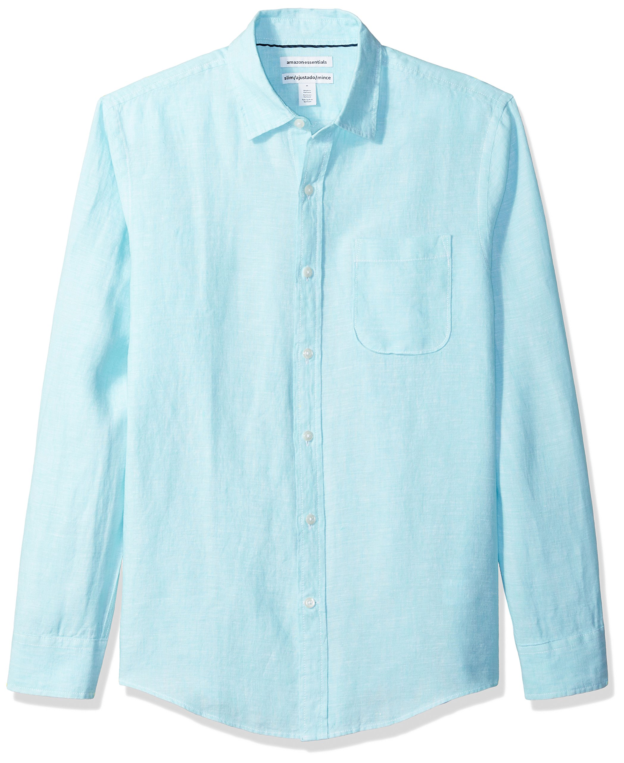 Amazon Essentials Men's Slim-Fit Long-Sleeve Linen Shirt, Aqua, Small by Amazon Essentials (Image #1)