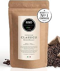 KIQO Classico Espresso aus Italien | in schonenden Kleinstchargen geröstet | säurearm und bekömmlich | 35% Arabica & 65% Robusta Bohnen (500g - ganze Bohnen)