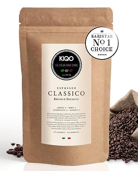 KIQO Classico Espresso | excelente café tostado premium de Italia | tostado suave en lotes pequeños