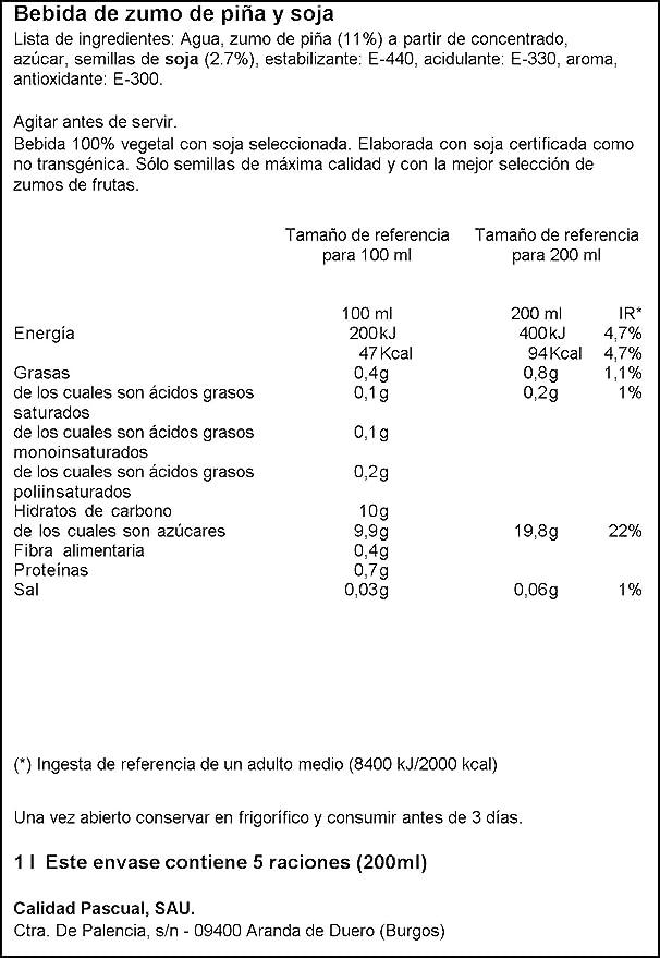 Vivesoy - Bebida de Zumo de Piña y Soja - 1 L: Amazon.es ...