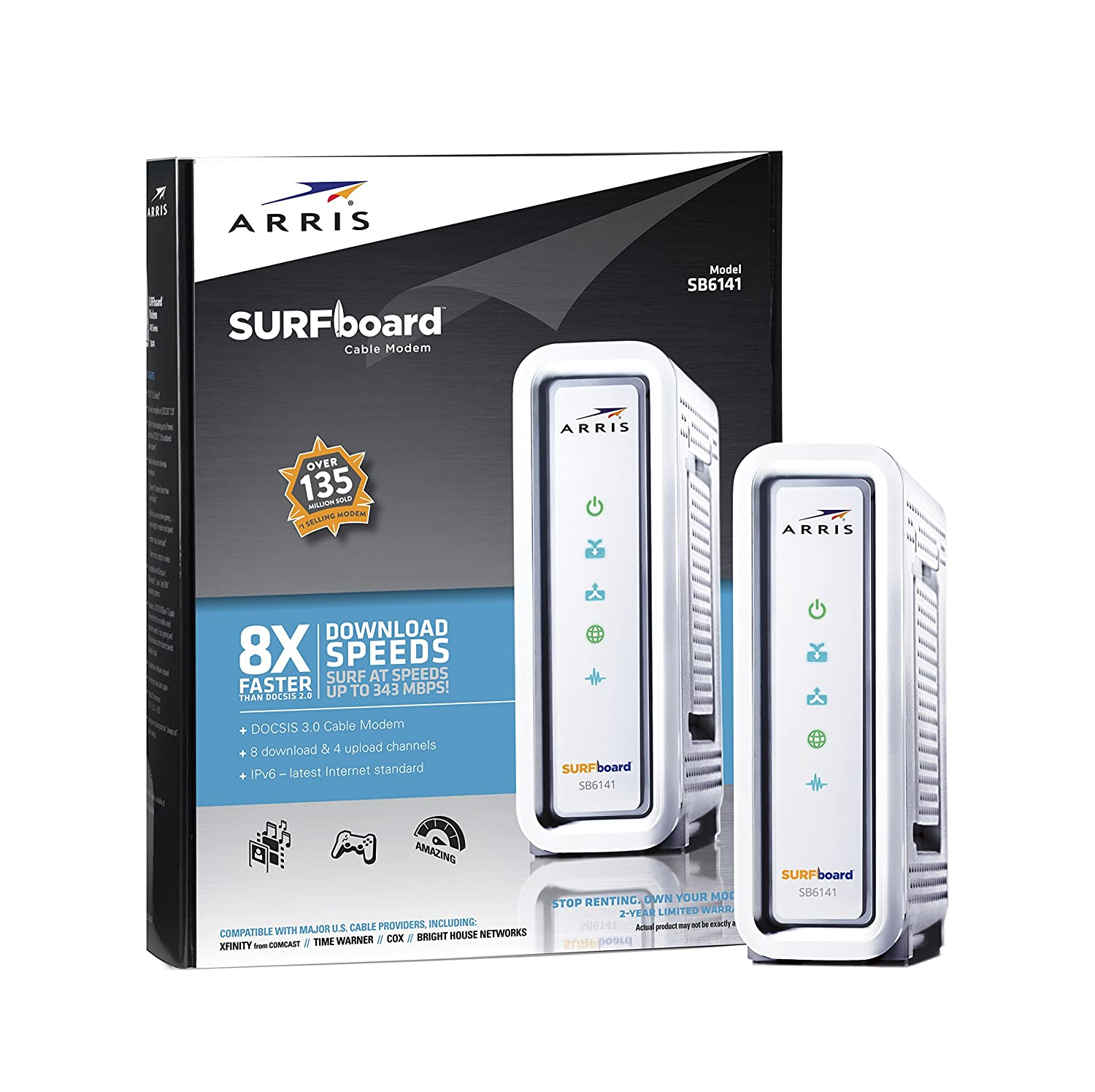 ARRIS/Motorola SurfBoard SB6141 DOCSIS 3.0 Cable Modem - Retail Packaging - White