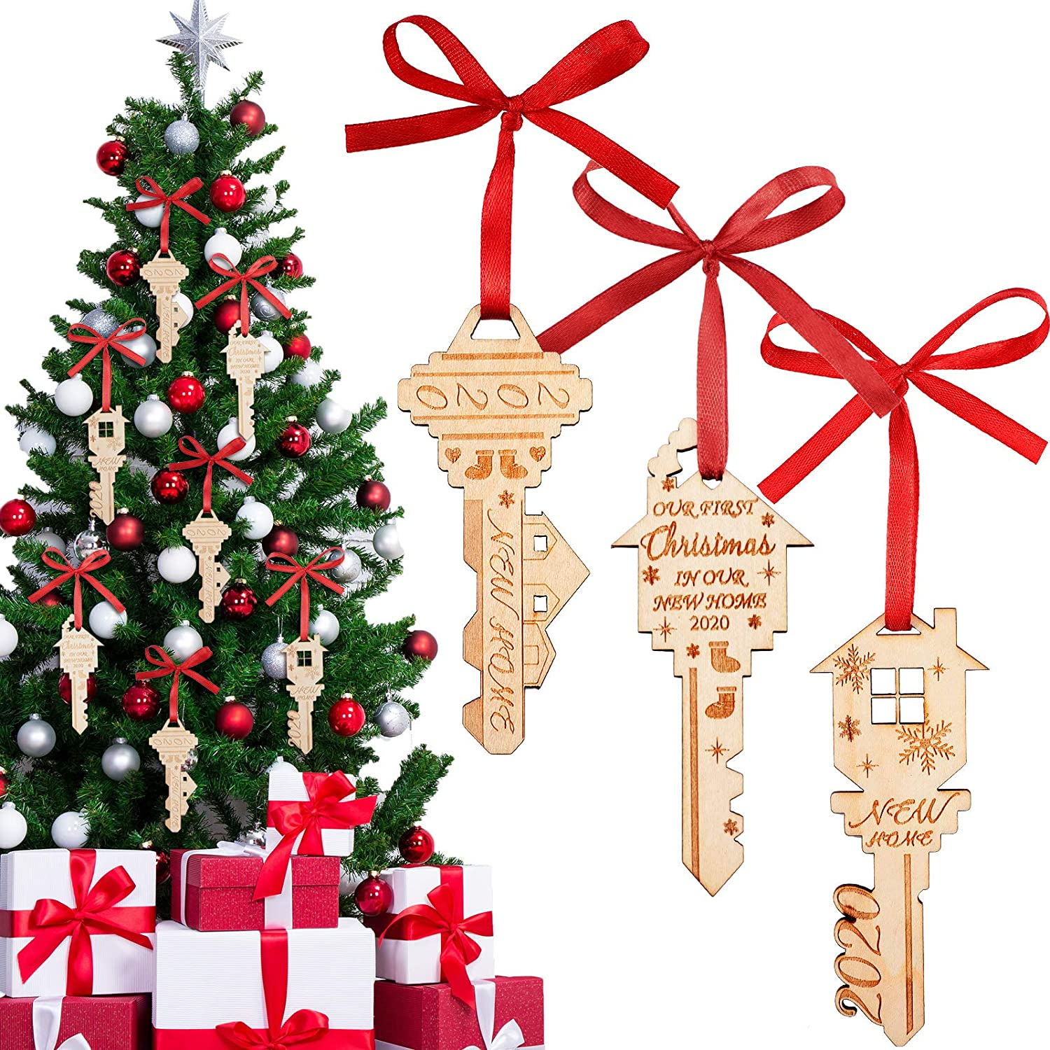 WILLBOND First Christmas Wooden Ornaments Our First Christmas in Our New Home 2020 Double Layer Christmas Wood Ornaments with Ribbon for Xmas Tree Hanging Decoration (3)