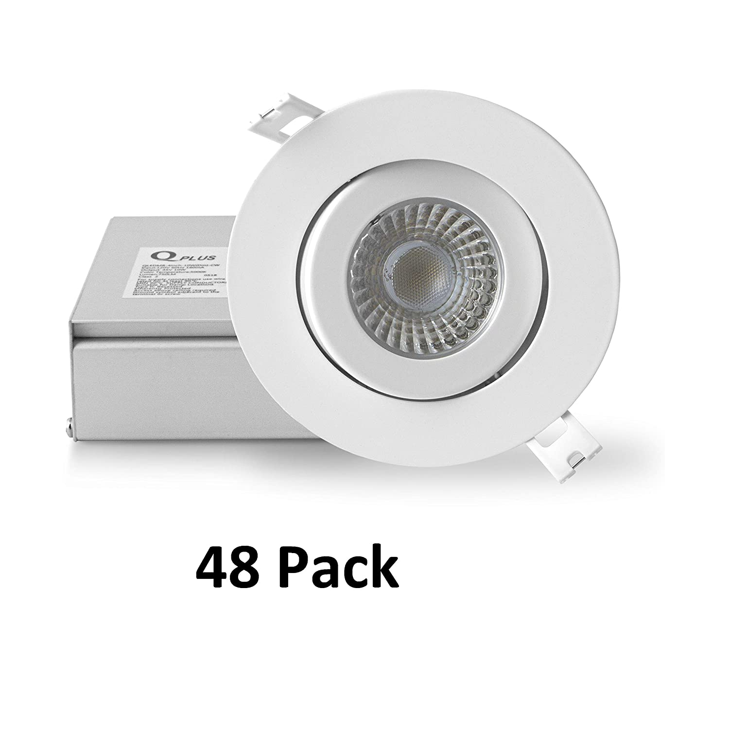 50,000 Hours 750 Lumens 10 Watts 16 Pack, 4000K Cool White cETLus//CSA//Energy Star//IC Rated QPLUS AIRTIGHT Gimbal 4 Inch Dimmable LED Recessed Down Light//Potlight with Junction Box//Driver