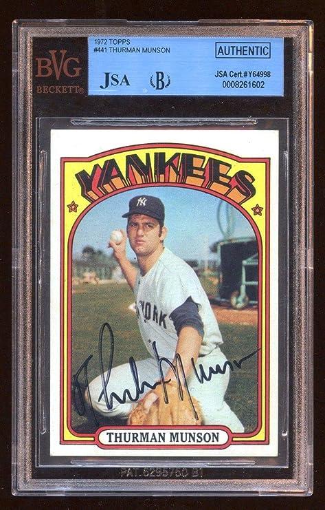 fb4908ff4f2 Thurman Munson 1972 Topps Autograph bgs Cert Full Letter Bold Signature -  JSA Certified - Baseball