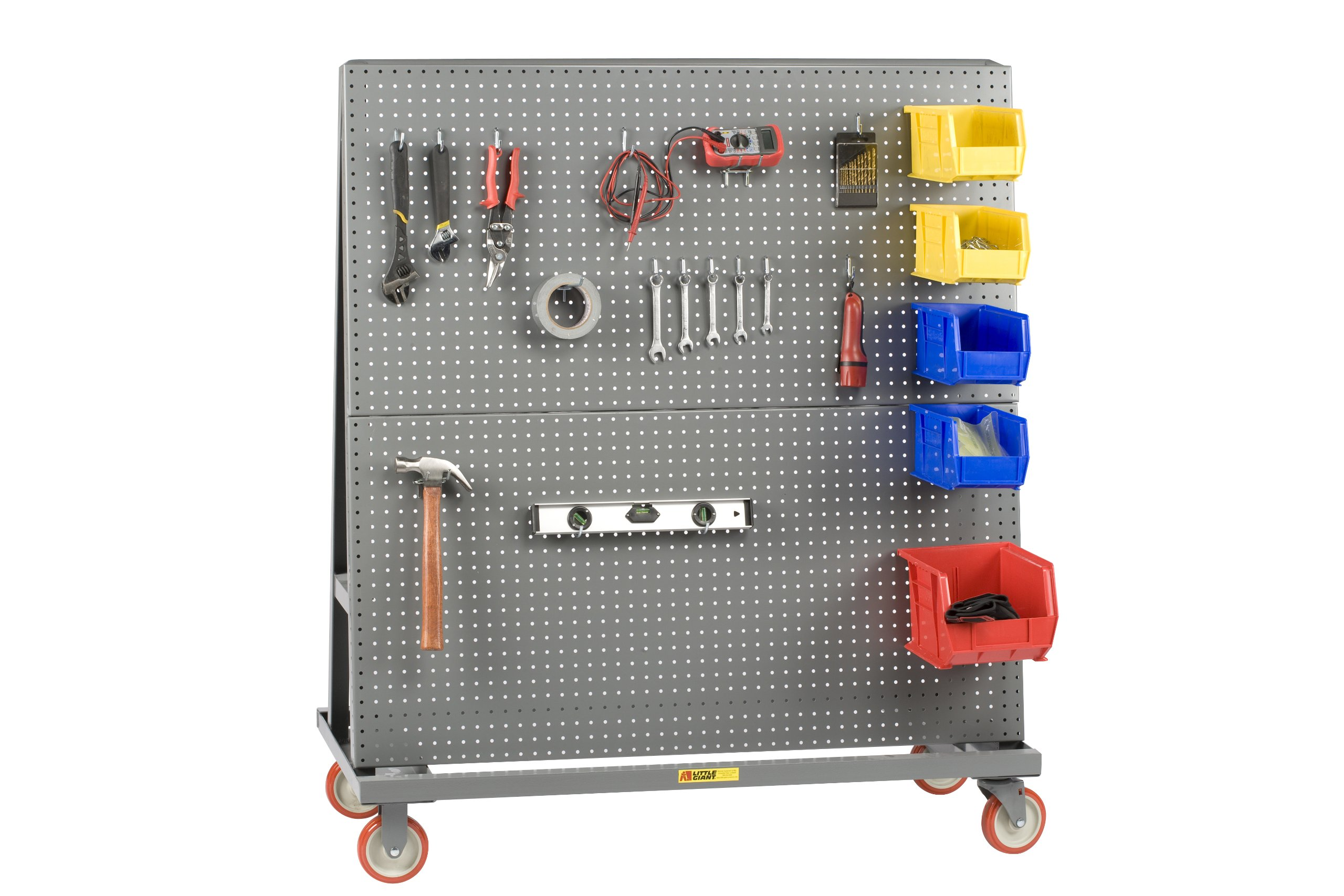 Little Giant AFPB-2460-5PY Heavy-Duty Mobile Pegboard A Frame-Lean Bulk Handling Tool Cart with 5'' Polyurethane Wheels, 2000 lbs Capacity, 60'' Length x 24'' Width x 56'' Height, Gray Finish