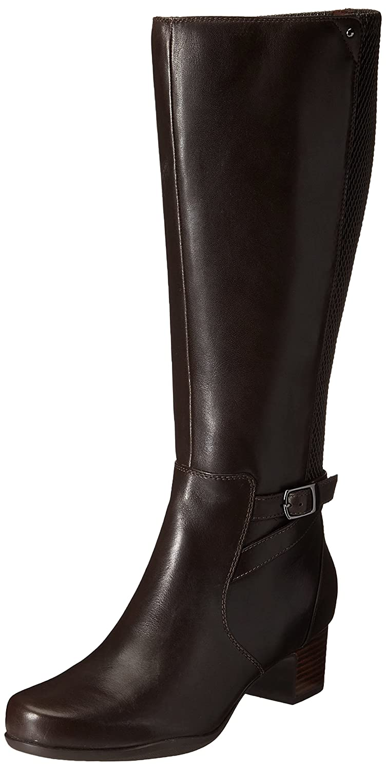 Amazon.com | CLARKS Women's Rosalyn Elise Riding Boot, Dark Brown Leather,  8.5 M US | Knee-High
