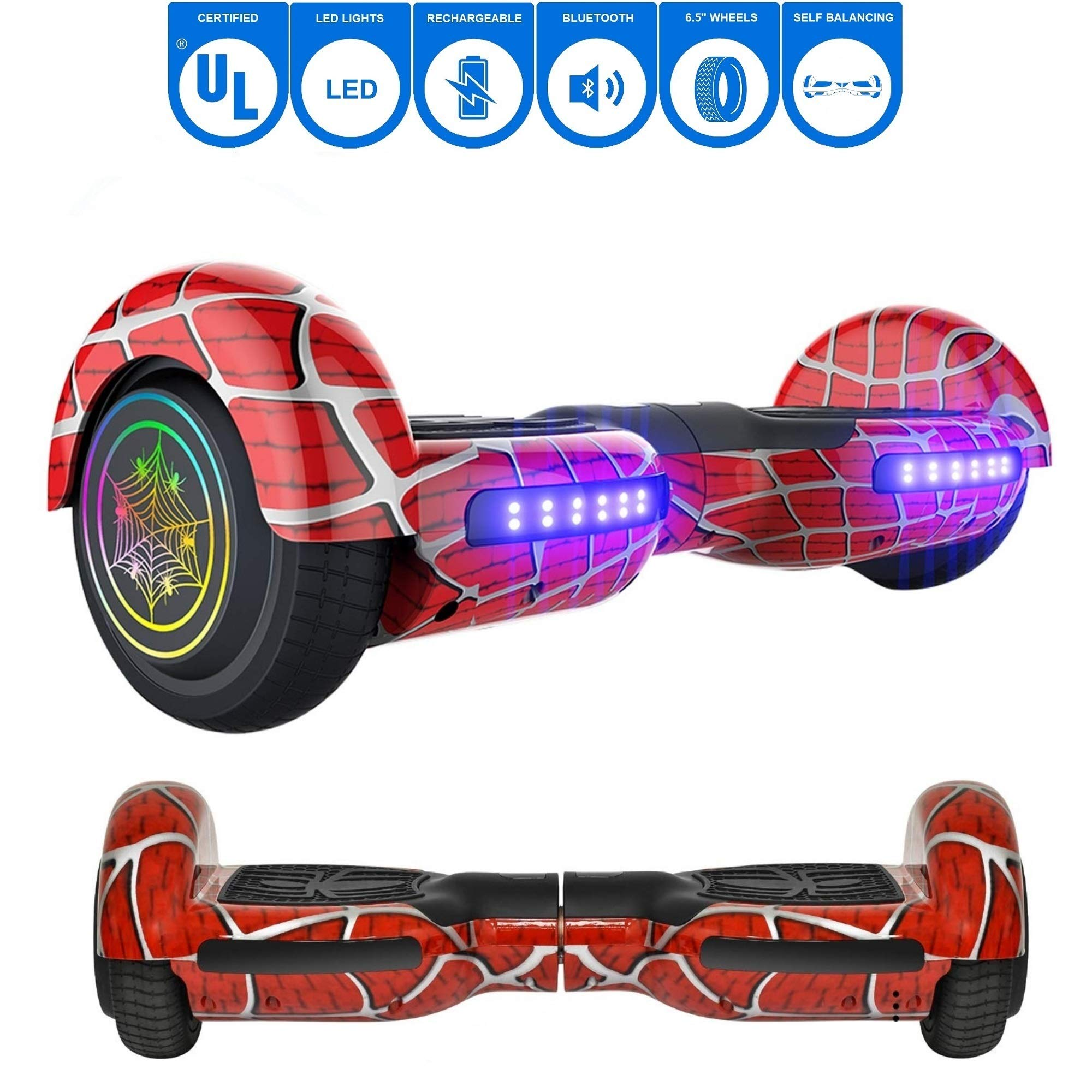 NHT 6.5'' inch Aurora Hoverboard Self Balancing Scooter with Colorful LED Wheels and Lights - UL2272 Certified Carbon Fiber/Spider/Built-in Bluetooth Speaker Available (Spider Red)