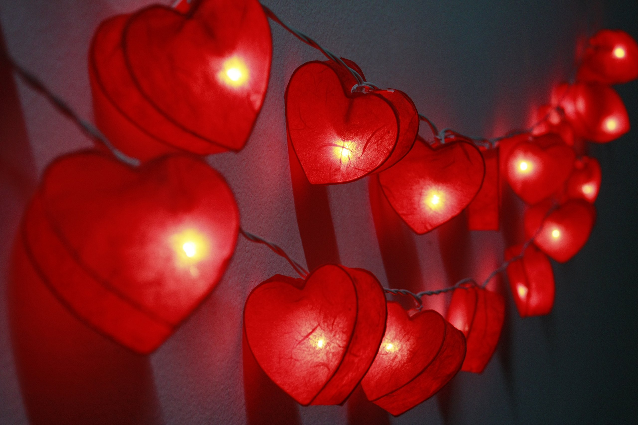 20 Red Heart Paper String Lights String Lights Hanging Wedding Gift Party Patio,bedroom Fairy Lights,home Floral Decor