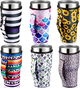 6 Pieces Iced Coffee Cup Sleeve Reusable NeopreneInsulated Cup Sleeves Cup Cover Holders Drinks Sleeve Holder for 30-32 oz Cold Hot Beverages