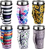 6 Pieces Iced Coffee Cup Sleeve Reusable Neoprene Insulated Cup Sleeves