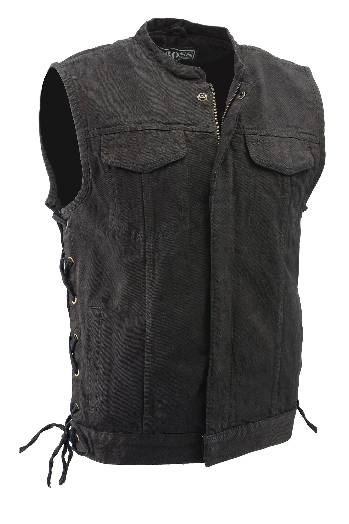 M-Boss Motorcycle Apparel-BOS13002-BLACK-Men's Denim Club Style Side Lace Vest w/Hidden Zipper-BLACK-3XL