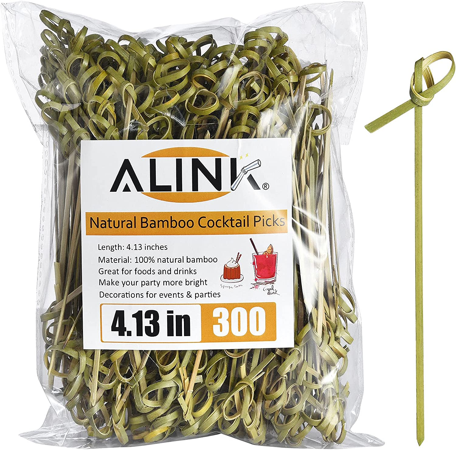 ALINK Bamboo Cocktail Picks, 300 Counts 4.1 inch Fruit Toothpick Skewers for Party Food Drinks Appetizer