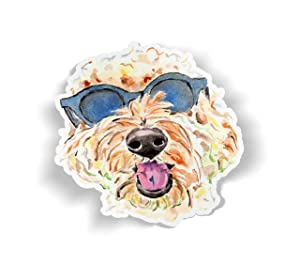 Golden Doodle Vinyl Sticker, Goldendoodle Decal, Water Bottle Stickers, Watercolor Tumbler Sticker, Cute Dog Laptop Stickers, Dog Phone Sticker