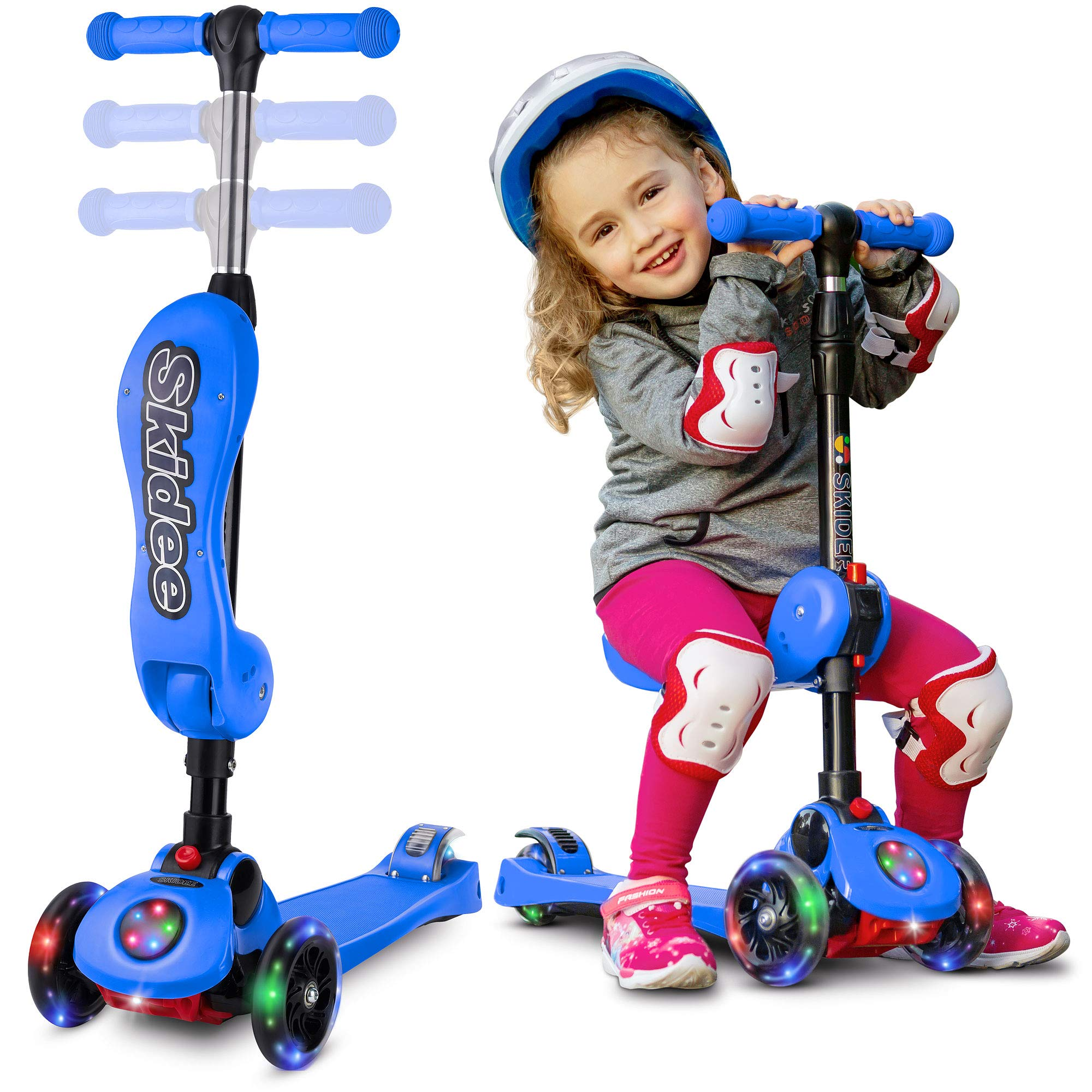 2-in-1 Scooter for Kids with Folding Removable Seat Zero Assembling - Adjustable Height Kick Scooter for Toddlers Girls & Boys - Fun Outdoor Toys for Kids Fitness 3 PU Flashing Wheels Extra Wide Deck by S SKIDEE