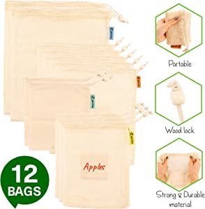 Reusable Produce Bags Foldable and Washable-12 Household Grocery Cloth Bags Eco-Friendly Zero Waste Large and Small with 20 Customized Label Stickers for Groceries and Storage Food Vegetable Fruit Toy