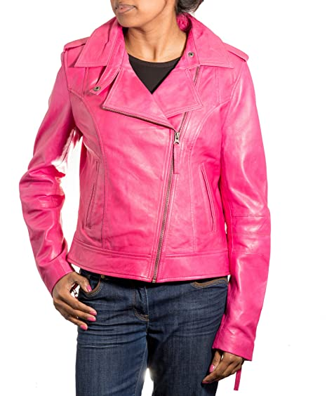 86c8f4320a5b Ladies/Women Pink Brando New Biker Style Real Soft Leather Cross Zip Fitted Motorbike  Jacket (Sizes 8-24): Amazon.co.uk: Clothing