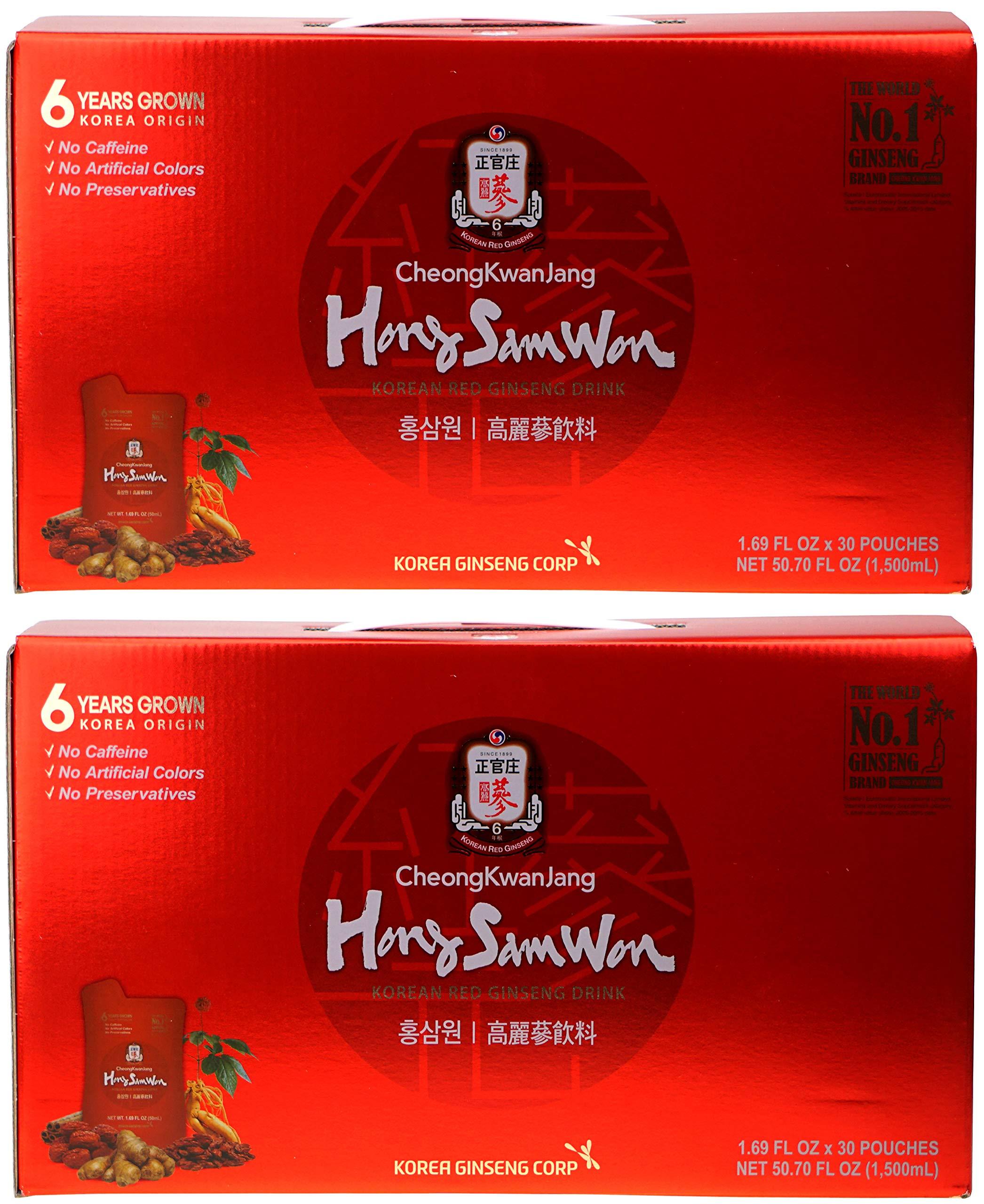 Cheong Kwan Jang - Hong Sam Won - Korean Red Ginseng Drink - Thirty 1.69 Fluid Ounce Pouches (2 Pack) by Hong Sam Won