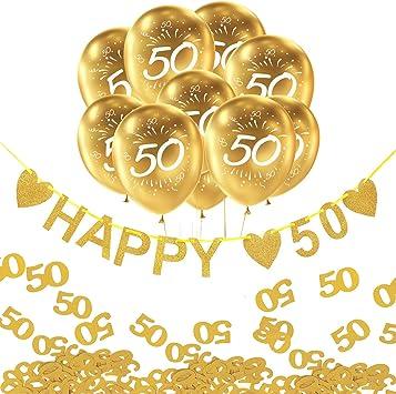 Oblique Unique 50 Geburtstag Goldene Hochzeit Party Feier Deko Set Happy 50 Girlande Luftballons Zahl 50 Konfetti Zahl 50 Gold Weiß