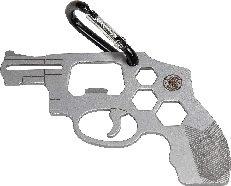 Smith & Wesson S&W Mosquetón Multiherramienta con construcción de Acero Inoxidable Compacto y Duradero para táctica, armador y EDC