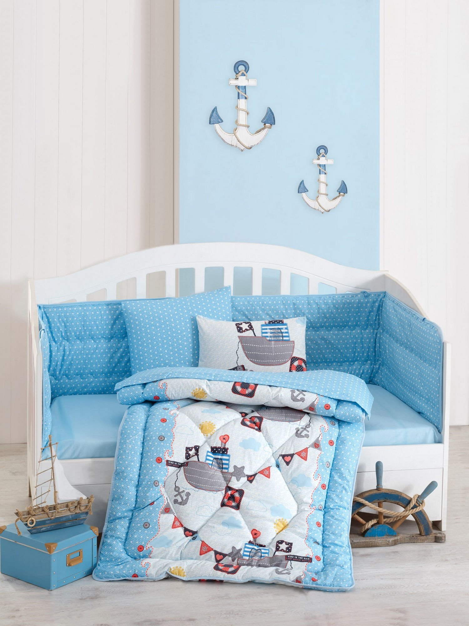 LaModaHome 6 Pcs Luxury Soft Colored Bedroom Bedding 100% Cotton Ranforce Baby Sleep Set Quilt Protector/Soft Relaxing Comfortable Pattern Design Submarine Ship/Baby Bed Size with Flat Seet