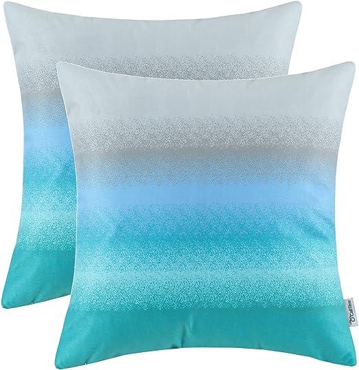 2Pcs CaliTime Light Blue Pillow Cushion Covers Shells Chain Circles Sofa 45x45cm