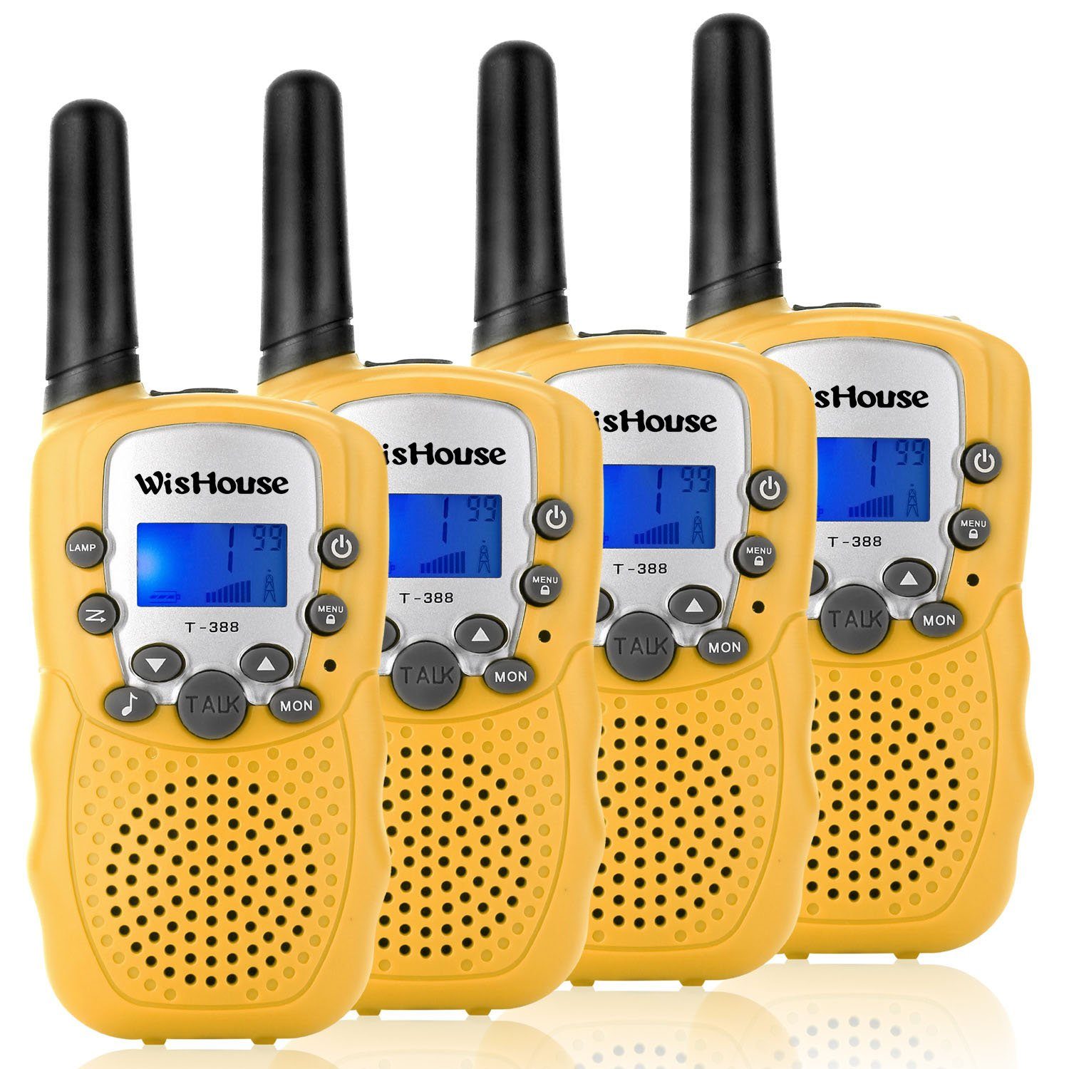 WisHouse Walkie Talkies for Kids, Toys for Boys and Girls Best Handheld Walky Talky with Flashlight,VOX Function,Share Your Happiness with Family and Friends Halloween(T388 Yellow 4 Pack) by Wishouse (Image #1)