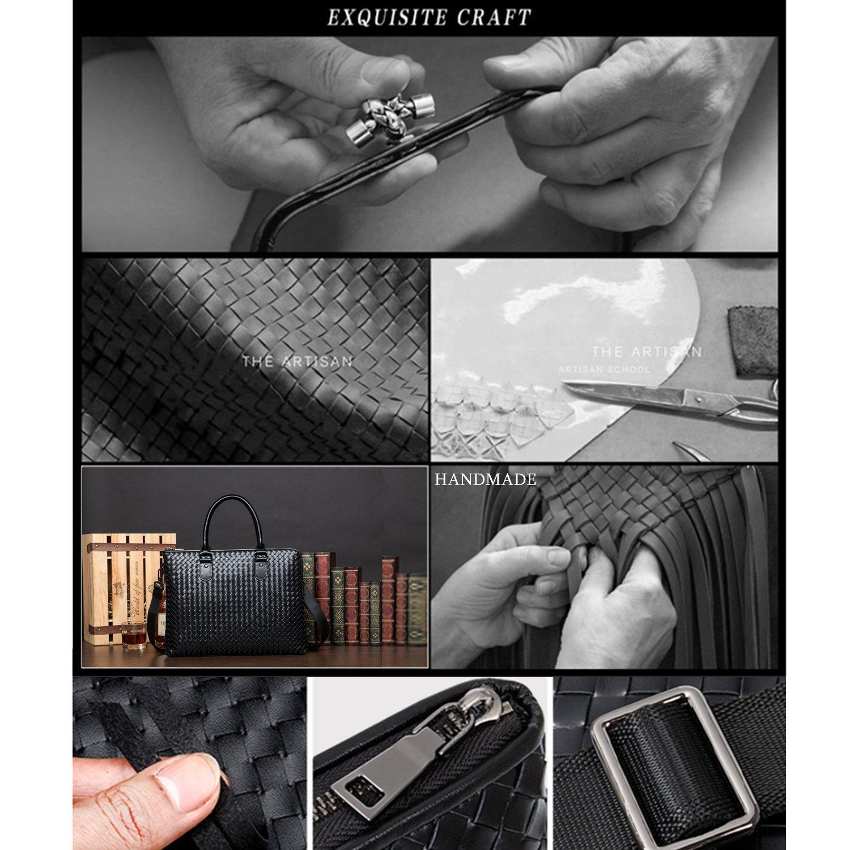 DANJUE Men Briefcase Bag Handmade Woven Leather Mens Shoulder Bags Business Laptop Bags Fit for A4 File 8069-1
